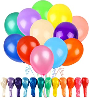 RUBFAC 120 Assorted Colour Balloons 30cm 12 Kinds of Rainbow Party Latex Balloons, Latex Balloons for Party Decoration, Bi...