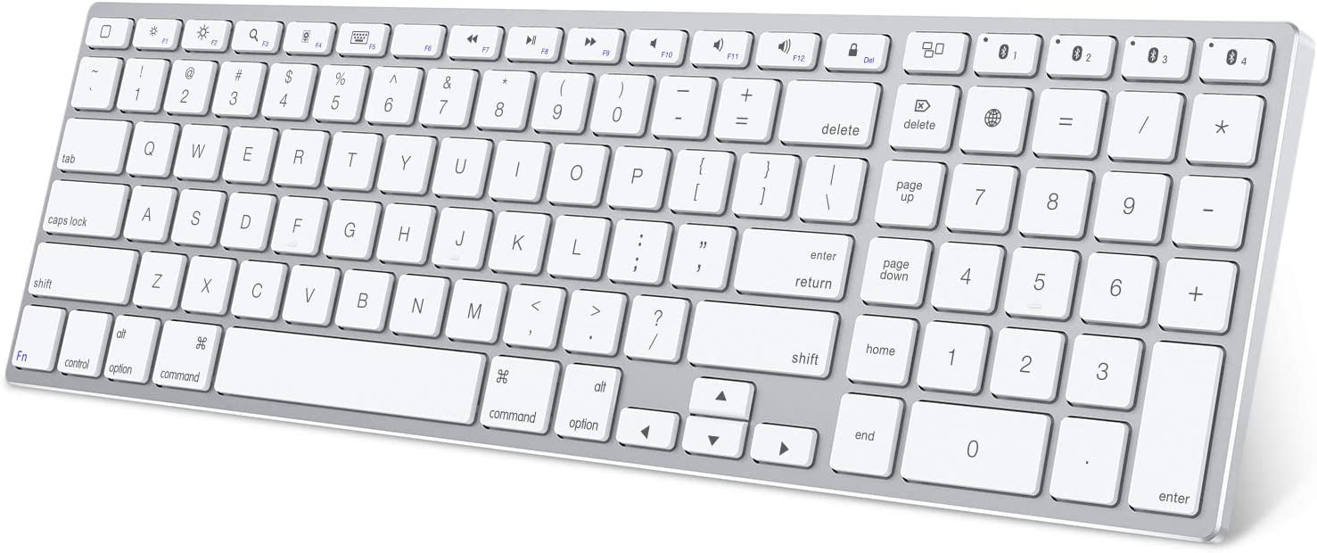 Bluetooth Keyboard for iPad, OMOTON Multi-Device Wireless Keyboard with Numeric Keypad, Stainless Steel Full Size Slim Rechargeable Bluetooth Keyboard for iPad/iPad Pro/iPad Air/iPad Mini