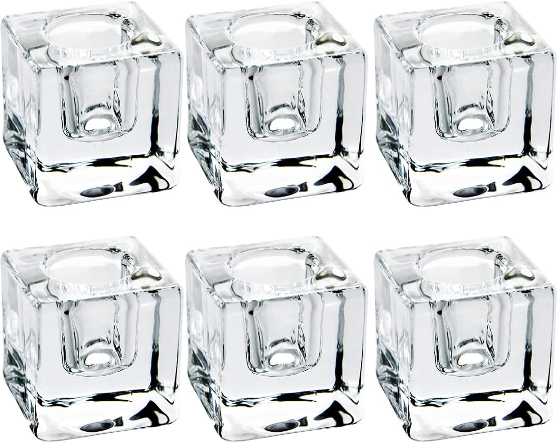 sale 6 PCS Square Glass Taper Candle Clear Selling rankings Crystal Holder Candlestic