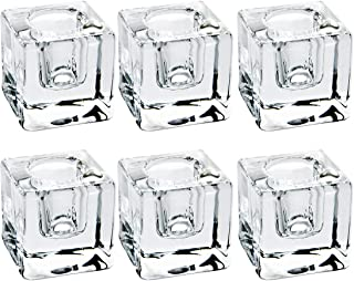 6 PCS Square Glass Taper Candle Holder, Crystal Clear Candlestick for Dining Table, Wedding, Thanksgiving and Christmas.