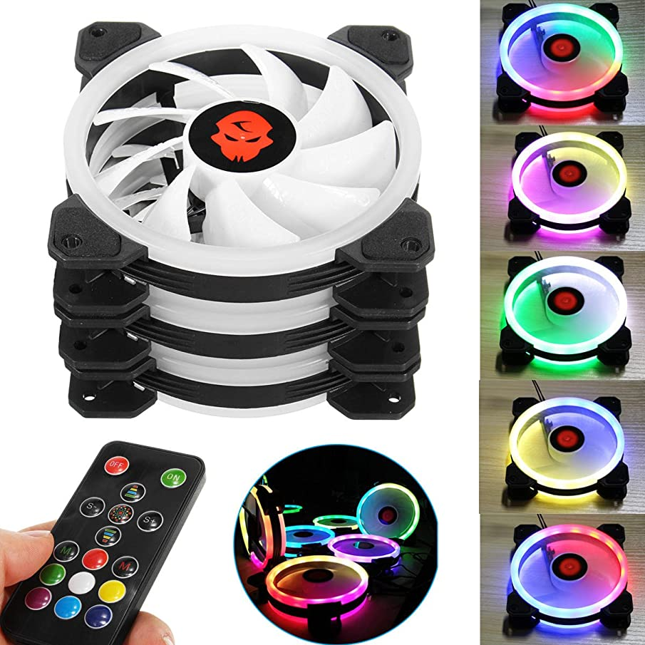 3PCS 120mm Adjustable RGB LED Light Computer Case PC Cooling Fan with Remote