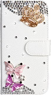 Crystal Wallet Case for Samsung Galaxy S8,Aoucase Stylish Luxury 3D Handmade Crown Butterfly Design Bling Pocket Purse Sof...