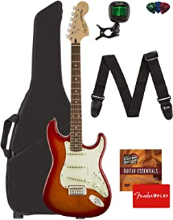 Fender Squier Standard Stratocaster Guitar - Laurel Fingerboard, Cherry Sunburst Bundle with Gig Bag, Tuner, Strap, Picks, and Austin Bazaar Instructional DVD