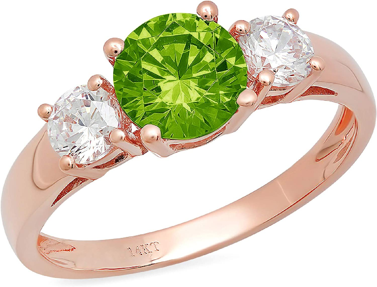 1.47ct Brilliant Round Cut Solitaire three stone Flawless Genuine Natural Pure Green Peridot Gemstone VVS1 Designer Modern Statement Ring Solid 14k Rose Pink Gold