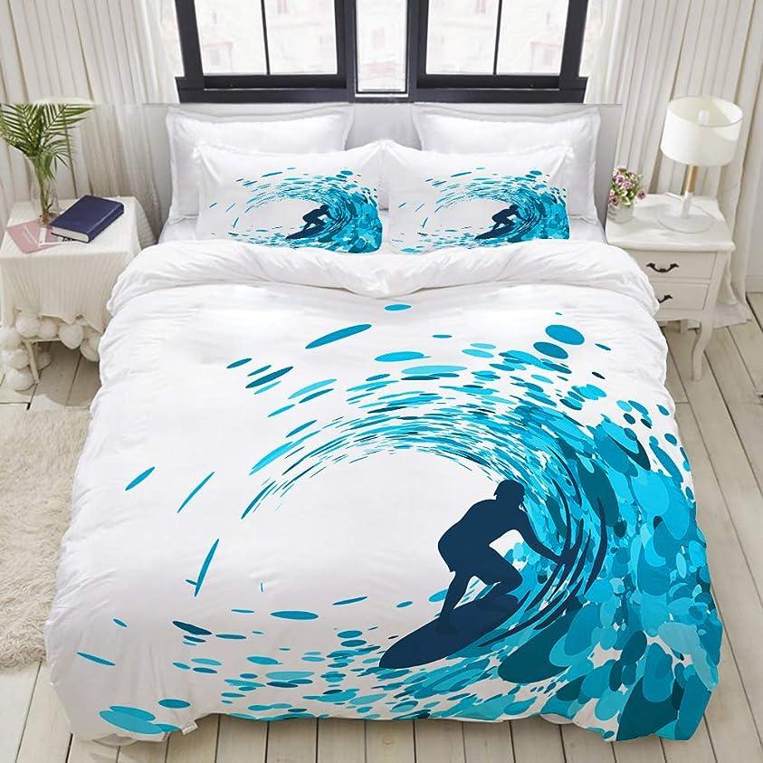 言い換えるとに頼る王族MOBEITI 布団カバー シングル 3点セット,巨大な海の波の下でサーファーの波のシルエットに乗る選手趣味ライフスタイル画像, ベッド用 掛け布団 + 枕 カバー 洋式 和式兼用(175 x 210cm)