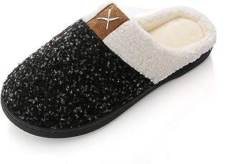 KISCHERS Indoor Winter Wool-Like Slippers Womens Mens Memory Foam House Shoes Comfort Plush Fleece Lined Slipper Anti-Slip...