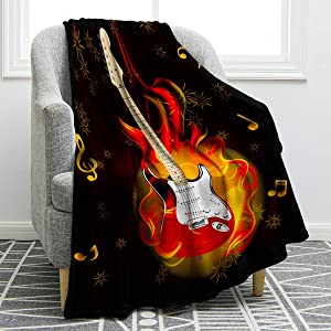 Jekeno Guitar Throw Blanket Soft Comfort Cozy Bed Couch Print Blanket for Kids Adults 50
