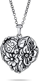 Personalized Engrave Craved Flowers Leaves Garden Lady Bug Photo Heart Shape Locket For Women That Hold Pictures 925 Silve...