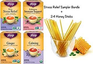 Yogi Tea Stress Relief Sampler Bundle (Pack of 4) 64 Tea Bags Total, Caffeine Free - Herbal Tea Assorted Variety Flavors I...