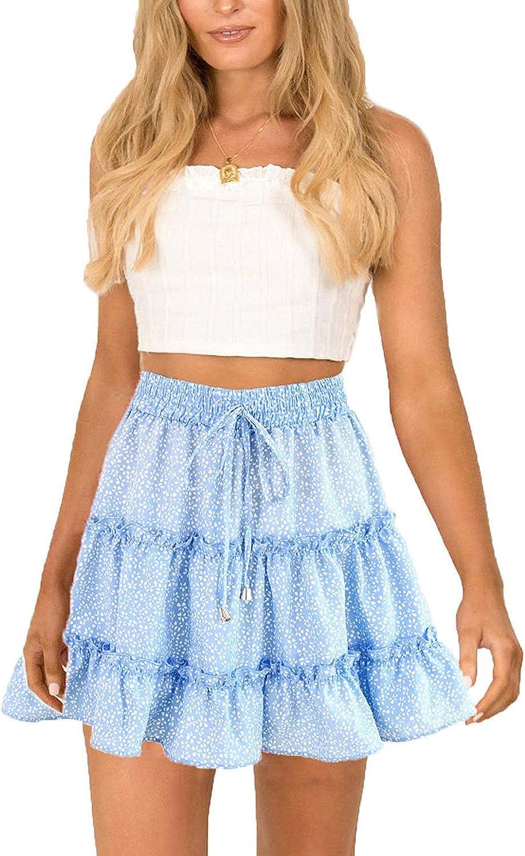 Daxvens Womens Summer Elastic High Waist Floral Print Ruffle Swing Skirt Polka Dot Mini Skirt with Drawstring