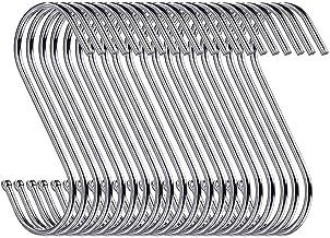 Voarge S-haken van roestvrij staal, 30 stuks om op te hangen, verchroomd, voor badkamer, slaapkamer, kantoor, keuken, wink...