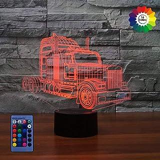 3D Camion LED Lampe Art Déco Lampe lumières LED Décoration lumières Contrôle à distance 7/16 couleurs Change Alimenté par ...