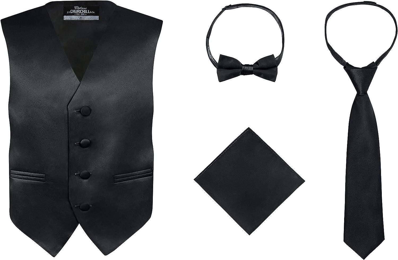 S.H. Churchill & Co. Boy's 4 Piece Vest Set|,| with Bow Tie|,| Neck Tie & Pocket Hankie