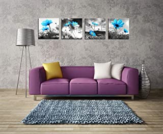 HLJ ART Modern Salon Theme Black and White Peacock Blue Vase Flower Abstract Painting Still Life Canvas Wall Art for Home Decor 12x12inches 4pcs/Set (Blue, 16x16in)