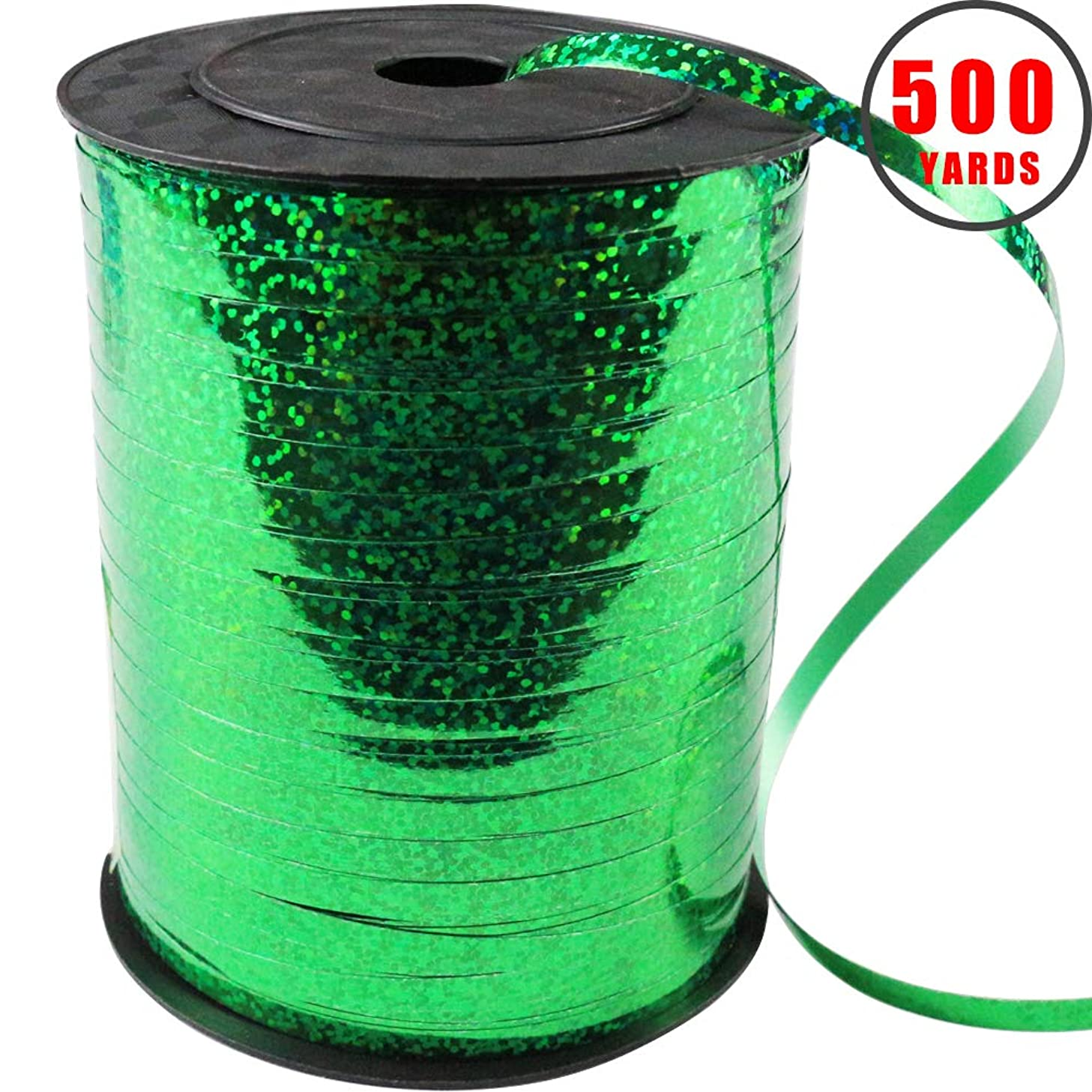 500 Yards Shiny Green Curling Balloon Ribbon,3/16-Inch Balloon String Gift Wrapping Ribbon Perfect for Birthday Weddings Party Decorations