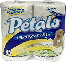 Petalo 13164 Papel Higiénico Ultra Resistente con extracto de Manzanilla, Paquete con 4 rollos