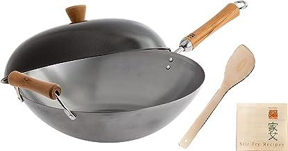 Joyce Chen J21-9972 Classic Series Carbon Steel Wok Set, 4-Piece Charcoal 14-Inch