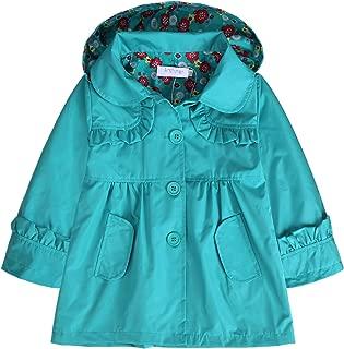 Girl Kid Flower Waterproof Hooded Coat Jacket Outwear Raincoat