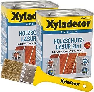 Xyladecor 2in1 Holzschutzlasur walnuss 1,5 l inkl. Xyladecor Pinsel