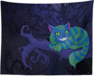 Lunarable Alice in Wonderland Tapestry, Chester Cat Sitting on Branch Fairytale Forest with Character, Fabric Wall Hanging Decor for Bedroom Living Room Dorm, 28