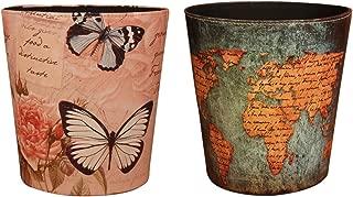 Yamix Wastebasket, European Style Retro PU Leather Wastebasket Paper Basket Trash Can Dustbin Garbage Bin Without Lid - World Map Pattern1+ Butterfly and Rose Pattern1