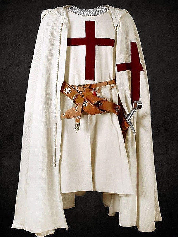 NASIR ALI Medieval Warrior LARP Costume Knights St John Weiß Tunic Cape Cloak Cosplay
