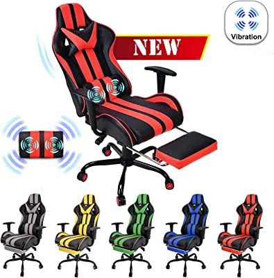Massage Gaming Chair,Large Size Ergonomic Racing Style PC Game Computer Chair with Headrest Lumbar Support Footrest Adjustable Recliner PU Leather Video Computer Chair(Tango Red)