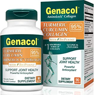 Genacol Turmeric Curcumin with Bioperine and Collagen (90 Capsules). Exclusive Natural Anti-inflammatory, Pain Relief & Joint Support Formula with 95% Standardized Curcuminoids.