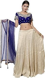Bridaal Royal Women's offwhite Golden Banarasi Designer Lehenga