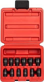 Sunex 1822, 1/4 Inch Drive Magnetic Impact Socket Set, 12-Piece, Metric, 5mm-15mm, Cr-Mo Alloy Steel, Radius Corner Design, Dual Size Markings, Heavy Duty Storage Case