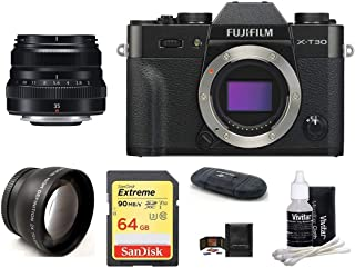 FUJIFILM X-T30 Mirrorless Digital Camera Body (Silver) + XF 35mm f/2 R WR Lens (Silver) Bundle, Includes: SanDisk 64GB Extreme SDXC Memory Card, Card Reader, Memory Card Wallet and Lens Cleaning Kit
