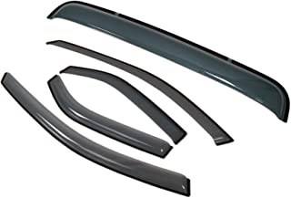 TuningPros LGWSV-493 Sunroof Moonroof and Out-Side Mount Window Visor Deflector Rain Guard Light Smoke 5-pc Set