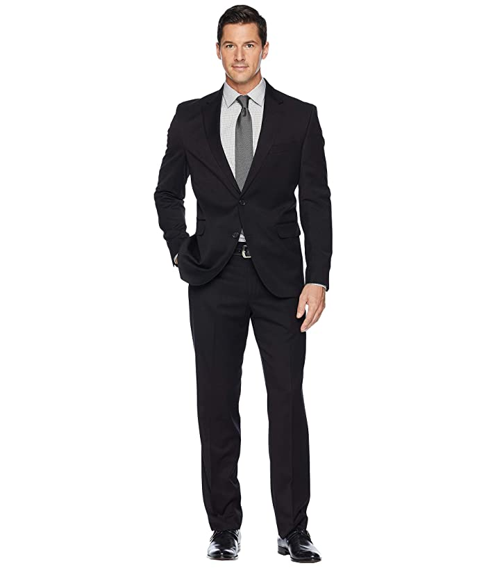 Dockers  Pre-Tailored 32 Finished Bottom Hem Suit (Black Solid) Mens Suits Sets