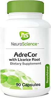 NeuroScience AdreCor with Licorice Root - Adrenal Energy Support Complex with Rhodiola and Histidine to Help Increase Cortisol and Reduce Fatigue (90 Capsules)