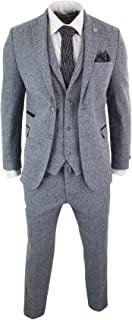 Mens Light Grey 3 Piece Tweed Suit Herringbone Wool Vintage Retro Peaky Blinders Grey 44