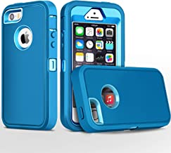 iPhone 5S Case,iPhone SE Case,Fogeek Heavy Duty PC and TPU Combo Protective Body Armor Case Compatible for iPhone 5S,iPhone SE and iPhone 5 with Fingerprint Function (Tea Blue/Light Blue)