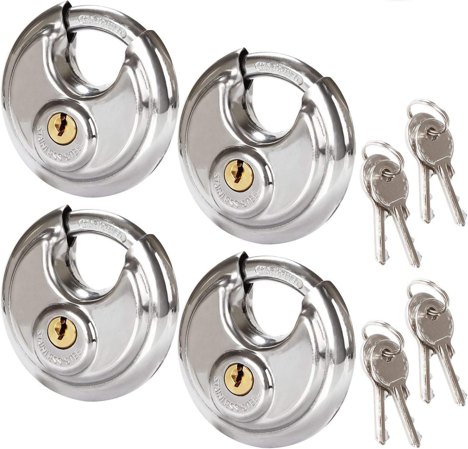 4 Pcs Round Padlock Stainless Steel Arlington Bargain sale Mall Duty Locks Rust Heavy Discus