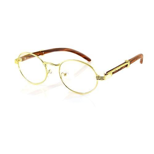 57762ead56 FBL Vintage Oval Clear Lens Metal   Wood Feel Eyeglasses A103