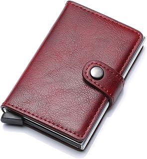 Tarjetero de piel para hasta 6 tarjetas – compacto y estable de aluminio – almacenamiento seguro