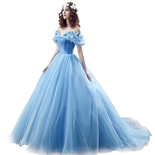 Chupeng Womens Princess Costume Butterfly Off Shoulder Cinderella Prom Gown Wedding Dresses Evening Gown Quinceanera Dress