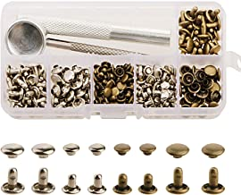 Yakamoz 120 Set Leather Double Cap Rivets Tubular Metal Studs with 3 Fixing Tool for DIY Leather Craft, Rivets Replacement, 6mm and 8mm, Sliver and Bronze