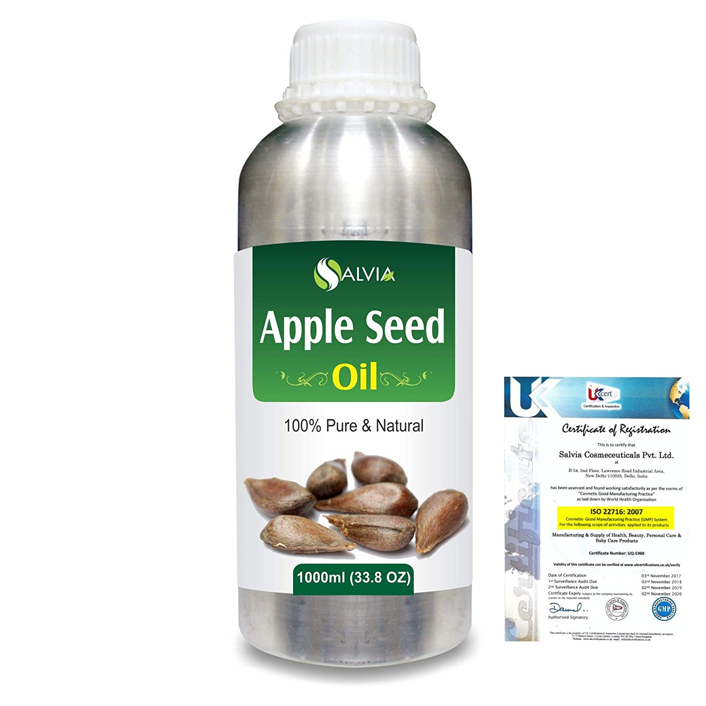 メドレー泣いている統計的Apple Seed (Pyrus Malus)100% Natural Pure Carrier Oil 1000ml/33.8fl.oz.