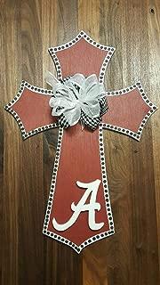 CELYCASY Alabama Crimson Tide Cross Door Hanger, Roll Tide, Bama, SEC with Houndstooth and Burlap Bow, Wooden Cross