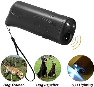 POVAD LED Ultrasonic Dog Repeller, 3 in 1 Ultrasonic Pet Repeller Anti Bark Stop Barking Dog Training Repeller Control Trainer (Black)