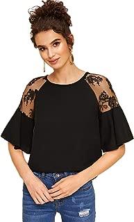 Women's Elegant Chiffon Solid Ruffle Short Sleeve V Neck Blouse T-Shirt Top