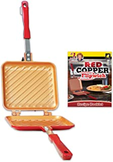 Red Copper Flipwich Non-Stick Grilled Sandwich and Panini Maker by BulbHead