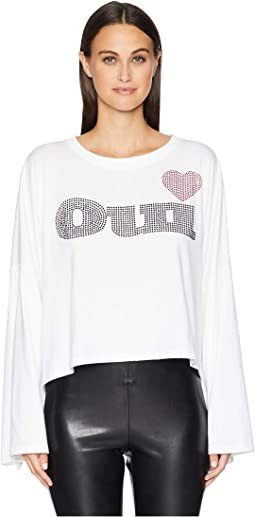 "Long Sleeve T-Shirt with ""OUI"" Print at the Front"