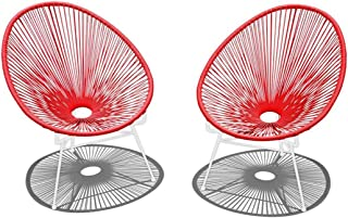Harmonia Living 2 Piece Acapulco Lounge Chair Set, Small, Candy Apple Red/White