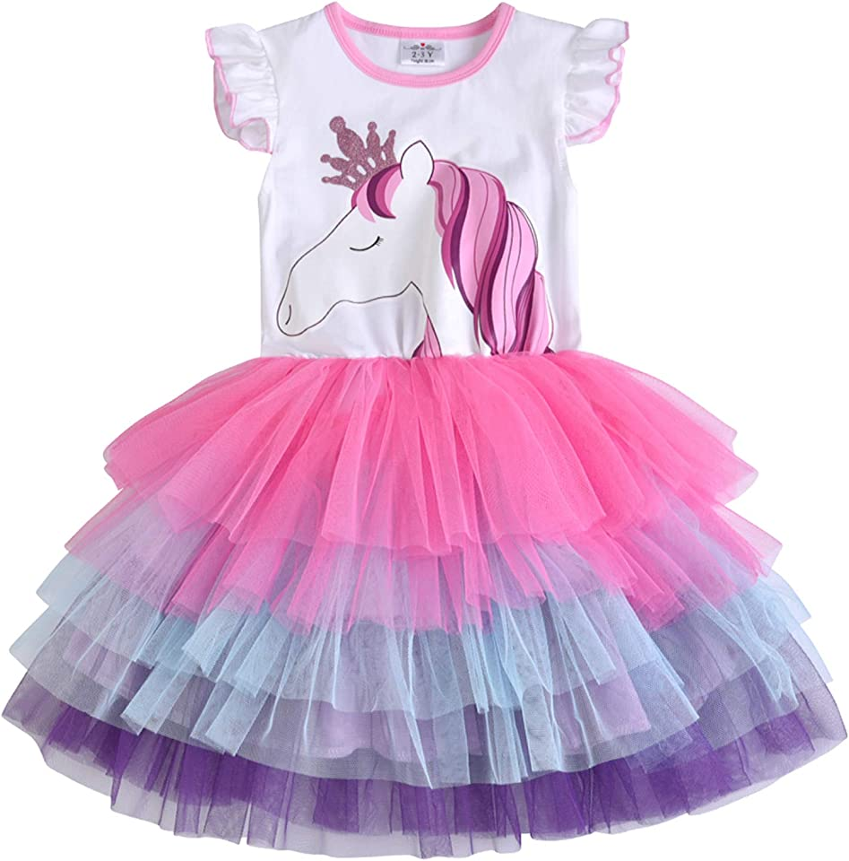 Kid Girls Dresses Princess Animal Cartoon Tulle Party Casual Outfits Clothing 1-8 Years
