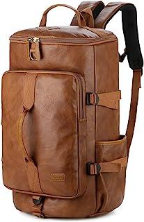 Baosha Stylish Leather Men Weekender Travel Duffel Tote Bag Backpack Hybrid Travel Hiking Rucksack Overnight Bag Convertib...